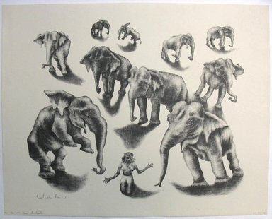 George Biddle (American, 1885-1973). Ten Elephants, 1952. Lithograph, 13 x 16 in. (33 x 40.6 cm). Brooklyn Museum, Gift of George Biddle, 67.185.50. © Estate of George Biddle