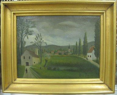 Henri-Julien-Félix Rousseau, called Le Douanier Rousseau (French, 1844-1910). Village Landscape with Figures, ca. 1895-1910. Oil on paper, 9 15/16 x 13 1/8 in.  (25.2 x 33.3 cm). Brooklyn Museum, Bequest of Laura L. Barnes, 67.24.13