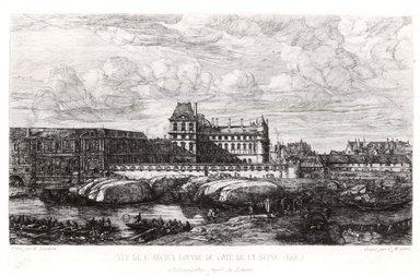 Charles Méryon (French, 1821-1868). Vue de L'Ancien Louvre du Cote de la Seine, 1866. Etching on wove paper, 6 1/2 x 10 1/2 in. (16.5 x 26.7 cm). Brooklyn Museum, Gift of Mrs. Harold J. Baily, 67.27.1
