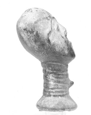 Akan. Funerary Portrait Head, late 19th or early 20th century. Buffware, reduced-fired, encrustation, wood, height: 6 3/8 in. (16.3 cm). Brooklyn Museum, Caroline A.L. Pratt Fund, 68.10.1. Creative Commons-BY