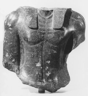 Royal Torso, 1759-1539 B.C. Granite, 20 1/2 x 20 1/2 x 9 13/16 in. (52 x 52 x 25 cm). Brooklyn Museum, Charles Edwin Wilbour Fund, 68.178. Creative Commons-BY