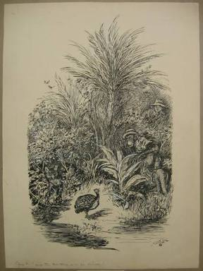 """Reginald Birch (American, born London, England, 1856-1943). Chapter V """"The Animal Village,"""" """"How the Red Fox Lost His Dinner,"""" 1940. Black ink with touches of white correction fluid on heavy wove paper, Sheet: 20 11/16 x 15 3/16 in. (52.5 x 38.6 cm). Brooklyn Museum, Gift of William G. Lord, 68.225.10"""