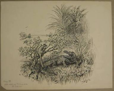 """Reginald Birch (American, born London, England, 1856-1943). Chapter IV """"The Animal Village,"""" """"Little Wiste Asked Mr. Crocodile to Help Him,"""" 1940. Black ink with touches of white correction fluid on heavy wove paper, Sheet: 14 3/16 x 17 15/16 in. (36 x 45.6 cm). Brooklyn Museum, Gift of William G. Lord, 68.225.8"""
