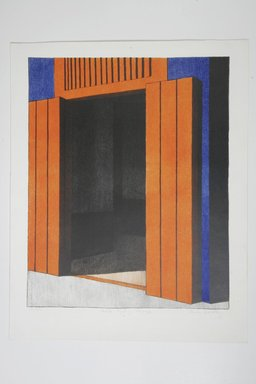 Emilio Sanchez (American, born Cuba, 1921-1999). Casita Azul Y Naranja. Lithograph on paper, 23 3/4 x 19 1/4 in. (60.3 x 48.9 cm). Brooklyn Museum, Gift of the artist, 68.25.4. © Emilio Sanchez Foundation, Erik J. Stapper, Trustee u/w/o Emilio Sanchez