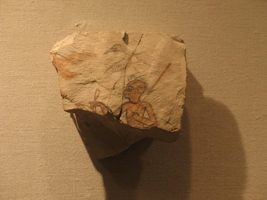 Painted Flake from Ostracon, ca. 1336-1250 B.C.E. Limestone, pigment, 4 9/16 x 4 7/8 x 1 1/8 in. (11.6 x 12.4 x 2.9 cm). Brooklyn Museum, Charles Edwin Wilbour Fund, 68.46.2. Creative Commons-BY