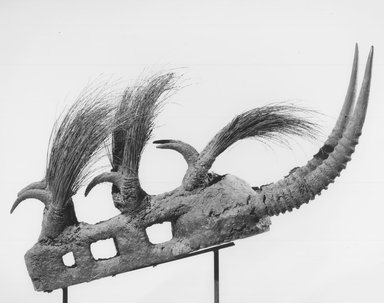 Bamana. Komo Society Mask, late 19th-early 20th centuries. Wood, metal, antelope horns, porcupine quills, organic materials, 14 x 8 x 33 1/2 in.  (35.6 x 20.3 x 85.1 cm). Brooklyn Museum, By exchange, 69.39.3. Creative Commons-BY