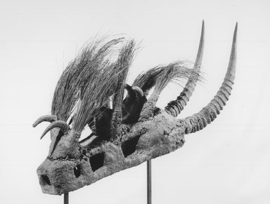 Bamana. Komo Society Mask, late 19th-early 20th century. Wood, metal, antelope horns, porcupine quills, organic materials, 14 x 8 x 33 1/2 in.  (35.6 x 20.3 x 85.1 cm). Brooklyn Museum, By exchange, 69.39.3. Creative Commons-BY