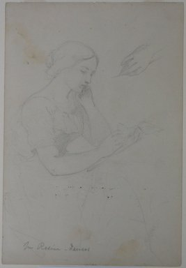 Daniel Huntington (American, 1816-1906). Woman Reading, ca. 1839-58. Graphite on wove paper, Sheet: 10 1/2 x 7 3/16 in. (26.7 x 18.3 cm). Brooklyn Museum, Dick S. Ramsay Fund, 69.62.2