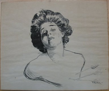 Charles Dana Gibson (American, 1867-1944). Young Woman Struck with Cupid's Arrows, ca. 1900. Black ink on cream, medium-weight, slightly textured wove paper, sheet: 10 x 12 in. (25.4 x 30.5 cm). Brooklyn Museum, Gift of Michael Cohen, 69.85