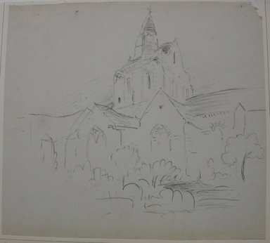 Stanford White (American, 1853-1906). Church in Central France, n.d. Charcoal on paper mounted to paper, Sheet: 11 5/8 x 12 15/16 in. (29.5 x 32.9 cm). Brooklyn Museum, Gift of the Henfield Foundation, 70.110