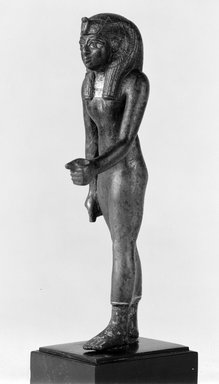 Ptolemaic. Female Royal Figure. Bronze, remains of gilding, 5 1/4 in. (13.3 cm). Brooklyn Museum, Charles Edwin Wilbour Fund, 70.133. Creative Commons-BY