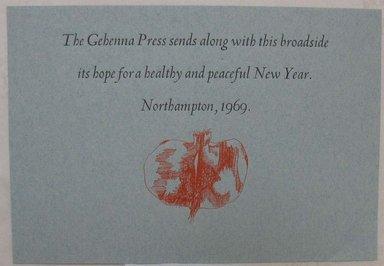 Leonard Baskin (American, 1922-2000). Ephemera, Greeting Card, 1969. Print, Sheet: 5 5/8 x 3 1/8 in. (14.3 x 8 cm). Brooklyn Museum, Gift of Leonard Baskin, 70.33.10. © Estate of Leonard Baskin, Courtesy Galerie St. Etienne, New York