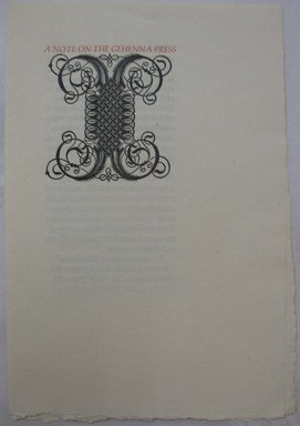 Leonard Baskin (American, 1922-2000). Ephemera, A Note on the Gehenna Press, mid 20th century. Print, Sheet: 8 1/4 x 5 11/16 in. (21 x 14.5 cm). Brooklyn Museum, Gift of Leonard Baskin, 70.33.13. © Estate of Leonard Baskin, Courtesy Galerie St. Etienne, New York