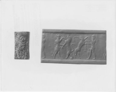 Ancient Near Eastern. Cylinder Seal, 2300 B.C.E. Serpentine, 15/16 x Diam. 1/2 in. (2.4 x 1.3 cm). Brooklyn Museum, Twentieth-Century Fox Fund, 71.115.1. Creative Commons-BY