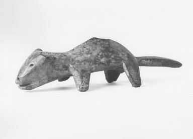 Lega. Figure of an Animal (Mugugundu); Antelope (Lungaga) or Billy-goat (Kilimba), late 19th or early 20th century. Wood, patina, kaolin, 12 5/8 x 3 x 3 1/4 in. (32.0 x 7.6 x 8.2 cm). Brooklyn Museum, Gift of David R. Markin, 71.21.1. Creative Commons-BY