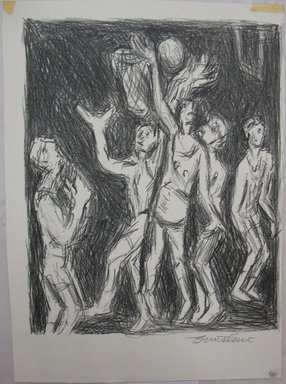 Theresa F. Bernstein (American, 1890-2002). Basketball Players, mid 20th century. Lithograph, Sheet: 12 1/16 x 8 13/16 in. (30.6 x 22.4 cm). Brooklyn Museum, Gift of the Society of American Graphic Artists in memory of John von Wicht, 71.60.8. © Estate of Theresa F. Bernstein