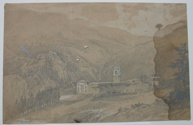 William Trost Richards (American, 1833-1905). Vallombrosa, October 29, 1855. Graphite and white on light brown paper, Sheet: 4 13/16 x 7 7/16 in. (12.2 x 18.9 cm). Brooklyn Museum, Gift of Edith Ballinger Price, 72.32.17.1
