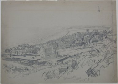 William Trost Richards (American, 1833-1905). English Coastal Town, August 25, 1879. Graphite on paper, Sheet: 10 1/16 x 14 1/16 in. (25.6 x 35.7 cm). Brooklyn Museum, Gift of Edith Ballinger Price, 72.32.20