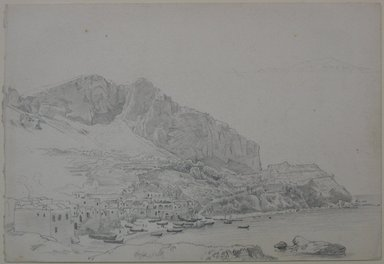 William Trost Richards (American, 1833-1905). Coastal Village (Italy?), April 25, 1867. Graphite on paper, Sheet: 7 x 10 1/4 in. (17.8 x 26 cm). Brooklyn Museum, Gift of Edith Ballinger Price, 72.32.26