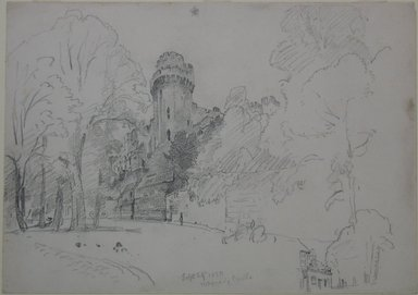 William Trost Richards (American, 1833-1905). Warwick Castle, September 29, 1880. Graphite on paper, Sheet: 9 15/16 x 14 in. (25.2 x 35.6 cm). Brooklyn Museum, Gift of Edith Ballinger Price, 72.32.29