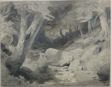 William Trost Richards (American, 1833-1905). Landscape, 1854. Ink wash, graphite, and crayon on paper, sheet: 4 5/8 x 5 13/16 in. (11.7 x 14.8 cm). Brooklyn Museum, Gift of Edith Ballinger Price, 72.32.4