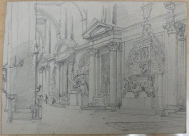 William Trost Richards (American, 1833-1905). Study of Interior of Santa Croce, Florence, with Monument to Michelangelo, ca. 1856. Graphite on paper, Sheet: 4 5/16 x 5 15/16 in. (11 x 15.1 cm). Brooklyn Museum, Gift of Edith Ballinger Price, 72.32.6