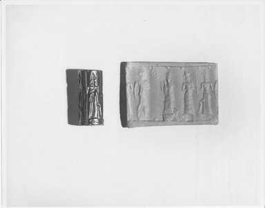 Ancient Near Eastern. Cylinder Seal, 18th century B.C.E. Hematite, 15/16 x Diam. 3/8 in. (2.4 x 1 cm). Brooklyn Museum, Gift of the Leon and Harriet Pomerance Foundation, 73.31.1. Creative Commons-BY