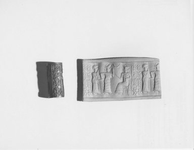 Ancient Near Eastern. Cylinder Seal, late 3rd millennium-early 2nd millennium B.C.E. Hematite, 3/4 x Diam. 3/8 in. (1.9 x 1 cm). Brooklyn Museum, Gift of the Leon and Harriet Pomerance Foundation, 73.31.2. Creative Commons-BY