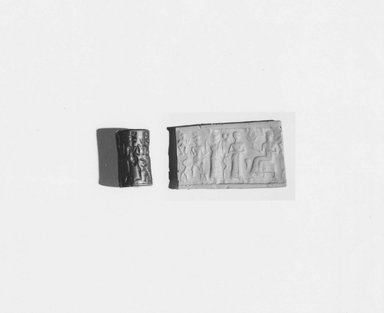 Ancient Near Eastern. Cylinder Seal, 18th-17th century B.C.E. Hematite, 3/8 x Diam. 1/4 in. (1 x 0.6 cm). Brooklyn Museum, Gift of the Leon and Harriet Pomerance Foundation, 73.31.3. Creative Commons-BY