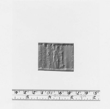 Ancient Near Eastern. Cylinder Seal, 16th century B.C.E. Serpentine, 1 1/4 x Diam .1/2 in. (3.2 x 1.3 cm). Brooklyn Museum, Leon and Harriet Pomerance Foundation, 73.31.5. Creative Commons-BY