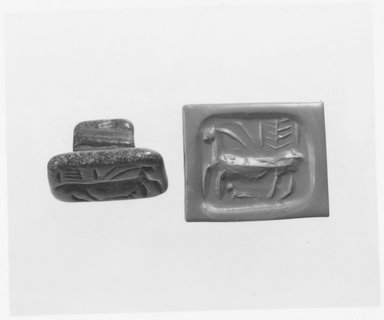 Ancient Near Eastern. Stamp Seal: Horned Quadruped with Elongated Body, late 5th millennium-early 4th millennium B.C.E. Steatite, 1 1/8 x 1 1/2 in. (2.9 x 3.8 cm). Brooklyn Museum, Gift of the Leon and Harriet Pomerance Foundation, 73.31.7. Creative Commons-BY