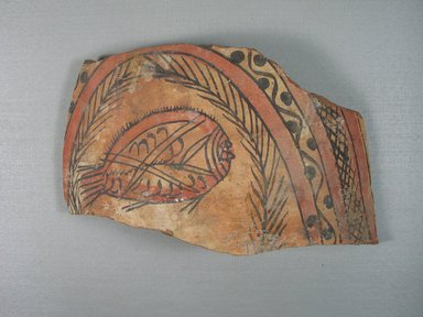 Coptic. Potsherd. Pottery, painted, 7 7/8 x 13 3/8 x 1/2 in. (20 x 34 x 1.3 cm). Brooklyn Museum, Gift of Dr. and Mrs. David Mintz and Charles Edwin Wilbour Fund, 74.157. Creative Commons-BY
