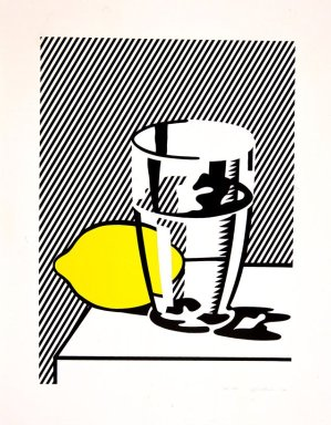 Roy Lichtenstein (American, 1923-1997). Untitled (Still Life with Lemon and Glass), 1974. Lithograph, screenprint and debossing on paper, sheet: 40 1/2 x 31 7/8 in. (102.9 x 81 cm). Brooklyn Museum, Designated Purchase Fund, 75.16.6. ©  Estate of Roy Lichtenstein