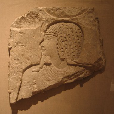 Sunk Relief Representation of a God, ca. 874-773 B.C.E. Limestone, 17 1/8 x 16 15/16 x 1 15/16 in. (43.5 x 43 x 5 cm). Brooklyn Museum, Charles Edwin Wilbour Fund, 75.167. Creative Commons-BY