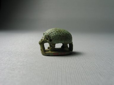 Seal in the Form of a Standing Hedgehog Over a Base. Faience, 13/16 x 5/8 x 1 1/16 in. (2.1 x 1.6 x 2.7 cm). Brooklyn Museum, Gift of Jean-Louis Domercq, 75.25. Creative Commons-BY