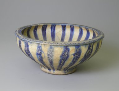 Brooklyn Museum: Blue and White Bowl with Radial Design