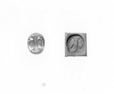 Ancient Near Eastern. Stamp Seal: Eagle with Spread Wings, 3rd-7th century C.E. Chalcedony, 9/16 x 1/2 x 9/16 in. (1.4 x 1.3 x 1.5 cm). Brooklyn Museum, Designated Purchase Fund, 75.55.19. Creative Commons-BY