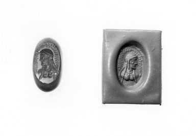 Ancient Near Eastern. Stamp Seal: Female Bust, 3rd-7th century C.E. Chalcedony, 11/16 x 7/16 x 11/16 in. (1.8 x 1.1 x 1.7 cm). Brooklyn Museum, Designated Purchase Fund, 75.55.2. Creative Commons-BY