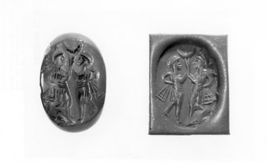 Ancient Near Eastern. Stamp Seal: Two Dancers with Ribbons, Crescent, 3rd-7th century C.E., possibly. Chalcedony, Accession Cards: Measurements:. Brooklyn Museum, Designated Purchase Fund, 75.55.5. Creative Commons-BY
