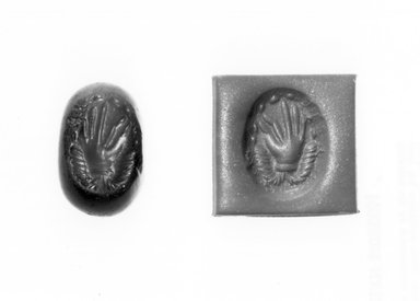 Ancient Near Eastern. Stamp Seal: Hand Surmounting Ribbons, 3rd-7th century C.E. Jasper, Accession Cards: Measurements:. Brooklyn Museum, Designated Purchase Fund, 75.55.6. Creative Commons-BY