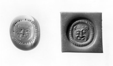 Ancient Near Eastern. Stamp Seal: Lion Head, 3rd-7th century C.E. Chalcedony, 1/2 x 1/2 x 11/16 in. (1.3 x 1.2 x 1.7 cm). Brooklyn Museum, Designated Purchase Fund, 75.55.8. Creative Commons-BY