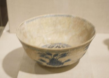 Bowl with Lotus Blossoms, 15th century. Ceramic; fritware, painted in cobalt blue under a transparent glaze; some iridescence, 4 x 8 5/8 in. (10.2 x 21.9 cm). Brooklyn Museum, Designated Purchase Fund, 75.56. Creative Commons-BY