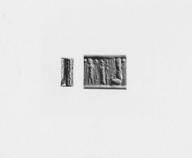 Ancient Near Eastern. Cylinder Seal, 1800-1650 B.C.E. Hematite, 1 1/16 x Diam. 1/2 in. (2.6 x 1.3 cm). Brooklyn Museum, Gift of Joel L. Malter, 76.145. Creative Commons-BY