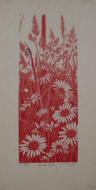 Grace Arnold Albee (American, 1890-1995). In the Wild, 1971. Wood engraving in red and black ink on wove paper, 10 x 3 15/16 in. (25.4 x 10 cm). Brooklyn Museum, Gift of the artist, 76.198.76. © Estate of Grace Arnold Albee