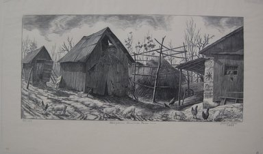 Grace Arnold Albee (American, 1890-1995). Hungarian American Farm, 1943. Wood engraving on wove paper, Sheet: 9 1/16 x 15 1/8 in. (23 x 38.4 cm). Brooklyn Museum, Gift of the artist, 76.198.90. © Estate of Grace Arnold Albee