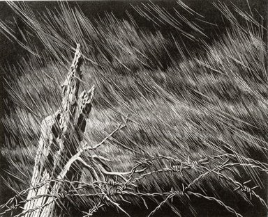 Grace Arnold Albee (American, 1890-1995). Turbulence, 1965. Wood engraving on paper, Sheet: 10 5/16 x 12 1/2 in. (26.2 x 31.8 cm). Brooklyn Museum, Gift of the artist, 76.198.92. © Estate of Grace Arnold Albee