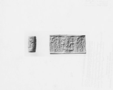 Ancient Near Eastern. Cylinder Seal, early 2nd millennium B.C.E. Marble, 11/16 x Diam. 3/8 in. (1.7 x 0.9 cm). Brooklyn Museum, Hagop Kevorkian Fund, 76.41.2. Creative Commons-BY