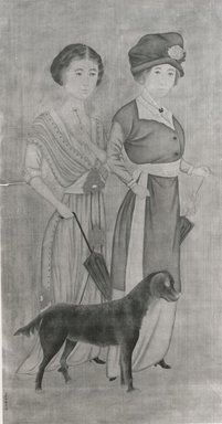 purportedly by Lang Shining (Chinese, 1688-1766). Two European Women with a Dog, possibly 20th century. Ink and color on silk., Image: 51 x 26 1/2 in. (129.5 x 67.3 cm). Brooklyn Museum, Gift of Evelyn Metzger, 77.206.2