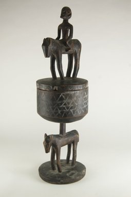 Dogon. Hemispherical Pedestal Cup with Figures, late 19th or early 20th century. Wood, h: 21 1/2 in. (54.5 cm). Brooklyn Museum, Gift of Mr. and Mrs. Milton F. Rosenthal, 77.246.3a-b. Creative Commons-BY