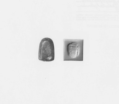 Ancient Near Eastern. Stamp Seal, ca. 625-539 B.C.E. Chalcedony, 1 1/16 x 1/2 x 11/16 in. (2.6 x 1.3 x 1.7 cm). Brooklyn Museum, Special Hagop Kevorkian Grant Fund, 77.52.5. Creative Commons-BY